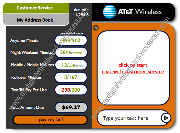 click on customer service for a 'Live Chat' with at&t representatives.